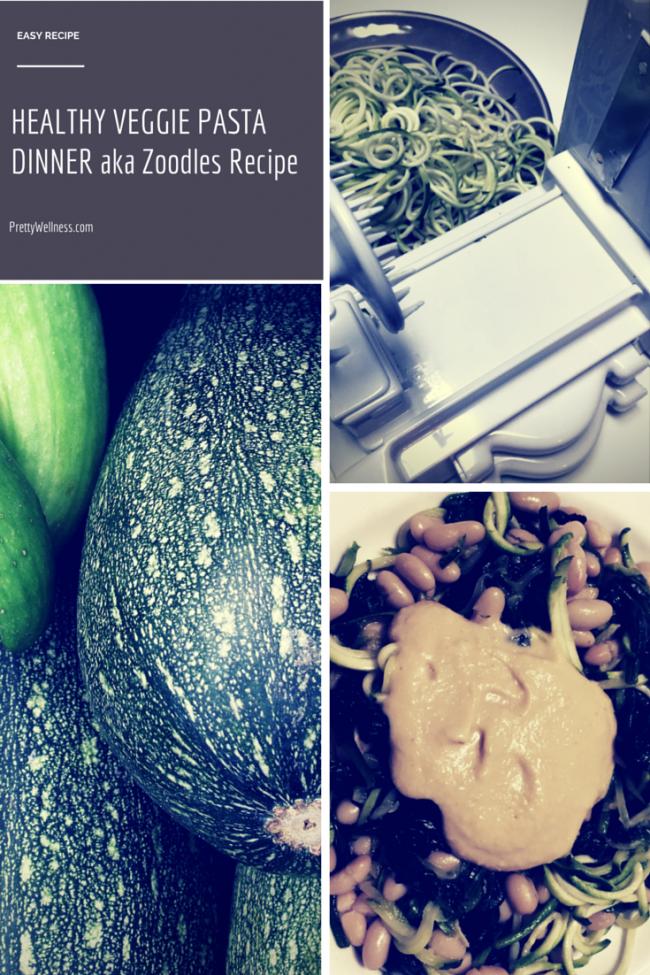 PrettyWellness.com Easy Recipe: Healthy Veggie Pasta Dinner aka Zoodles Recipe